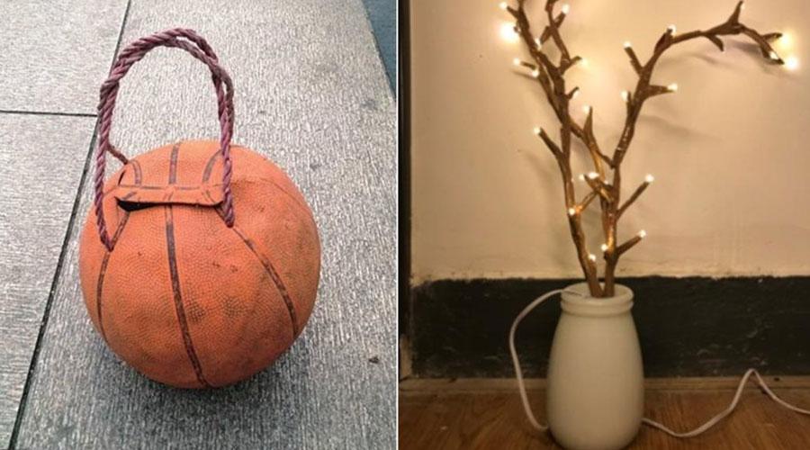 钓鱼用篮球水桶 和 旧灯串改造的树枝灯