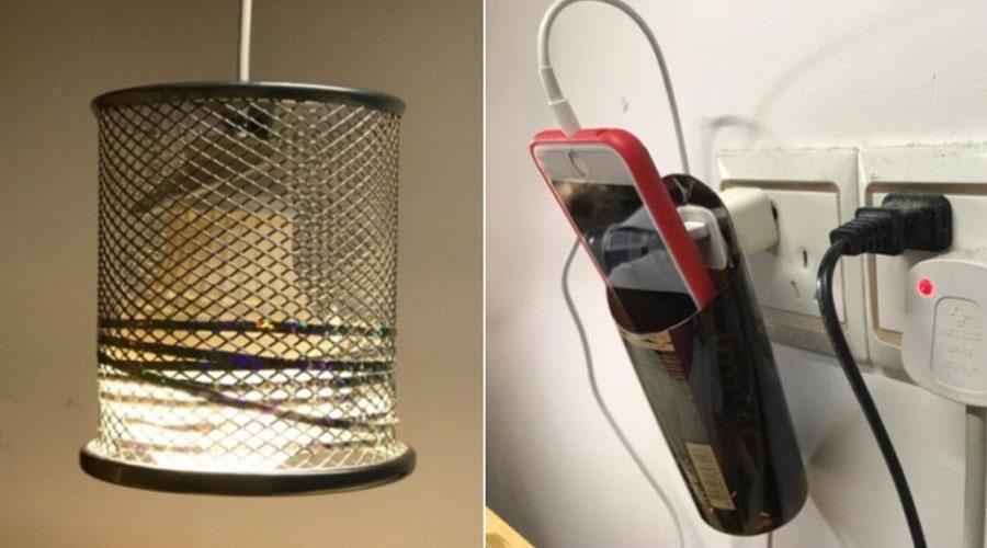 旧笔筒灯罩 和 悬挂式手机充电支架